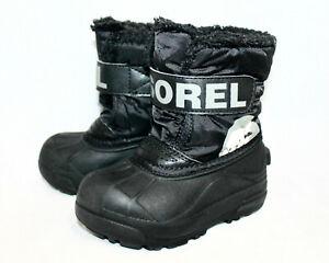 SOREL Kids Commander Winter Snow Boot NC1805-010 Toddler Boys 9 Eur 26 Black