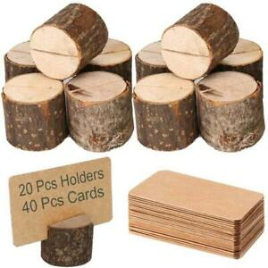 Toncoo Wood Place Card Holders, 20Pcs Premium Rustic Table Number Holders and 40