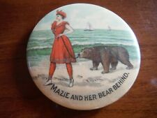 VINTAGE (EARLY 1900'S) MAZIE AND HER BEAR BEHIND POCKET MIRROR - EXCELLENT