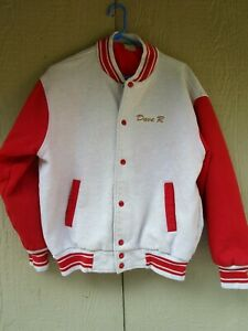 VINTAGE FRUIT OF THE LOOM RED AND GRAY LETTERMENS JACKET SZ L
