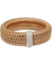 Roberto Coin 18K R/ W Gold Primavera Mesh Diamond Bangle 557765AHBAX0 MSRP $6900