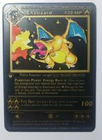 Charizard BASE SET 1st edition Shadowless Black Metal CUSTOM Pokemon Card