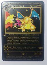 Charizard Base Set 1st edition Shadowless Black Metal Custom Pokemon Card