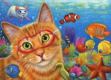 New listing ACEO ORANGE TABBY CAT SWIMMING SEAHORSE STARFISH KEY WEST FLORIDA OCEAN PAINTING