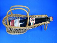 Vintage Wicker Rattan woven Wine Bottle Holder Basket Server Caddy