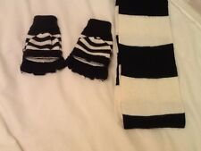 Ladies Scarf And Gloves In Black And White . New . Adjustable Gloves .