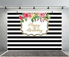 Happy Birthday Black Stripes 7x5ft Photography Backgrounds Photo Backdrops Props