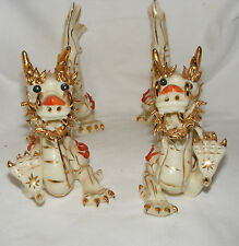 PAIR OF VINTAGE CHINESE PORCELAIN IMPERIAL DRAGONS GILT PAINTE FIGURINES STATUES