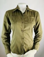 The North Face Small Women's Button Down Shirt Cotton Brown Long Sleeve