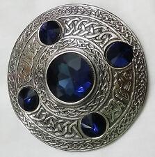 Scottish Fly Plaid Brooch Antique Finish Blue Stone Celtic Kilt Pins & Brooches