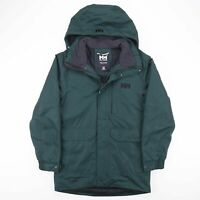 Vintage HELLY HANSEN Green Hooded Quilted Jacket Size Men's Small