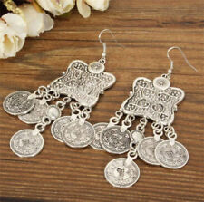 Silver Turkish Carving Coin Floral Boho Gypsy Beach Ethnic Tribal Drop Earring -