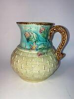 Vintage Majolica Ceramic Glazed Pitcher Basket Weave Leaves Light Blue