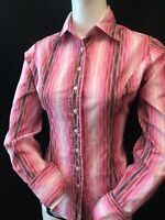T.M. LEWIN Women's Pink Multi Stripe Cuff Link Shirt UK 10