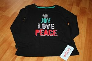 Joy Love Piece Girls Long Sleeve Tshirt XS 4/5 Christmas Holiday Cat & Jack