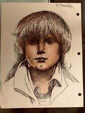 Vintage Josef M. Kozak Original Artwork PROFILE DRAWING Of a Boy Signed Unframed