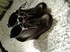 BNWOB Torrid Black Lace Up Platform Wedge Ankle boots Size 9 Wide Width