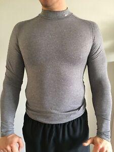 mens NikePro long sleeve t shirt base layer grey size medium
