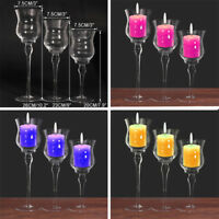 3Pcs Tall Glass Large Candle Holders Centrepiece Tea-Light Wedding Candles