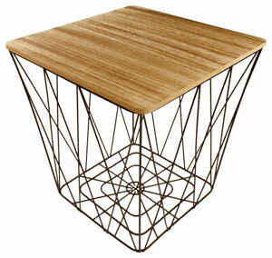 Square Side Table Black Wire Geometric Frame Storage Wooden Top Coffee Table UK