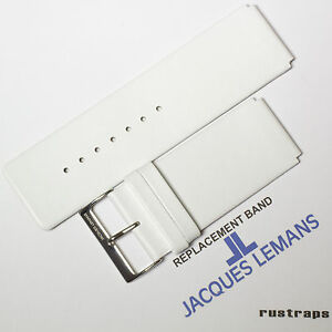Original Jacques Lemans 26mm white leather watch band for 1-1251F model