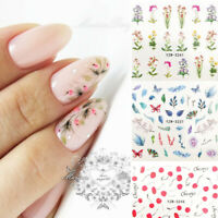 Nail Water Decals Lines Flower Leaves Slider Transfer Stickers Nail Art Decors