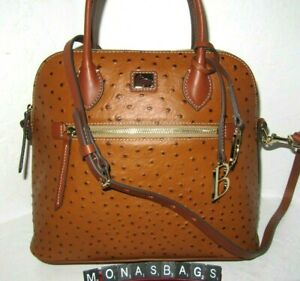 Dooney & Bourke Large Caramel Ostrich Domed Satchel Crossbody Handbag NWT $298