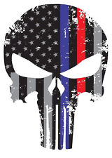"""Punisher Skull Red Blue Tattered Subdued Flag Bumper Window Decal Sticker 5.5"""" L"""