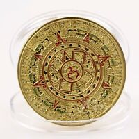 Gold Plated Mayan Aztec Prophecy Calendar Souvenir Commemorative Coin Collection