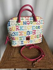 Dooney & Bourke Doodle Coated Cotton Zip Zip Satchel ShoulderBag White Multi NWT
