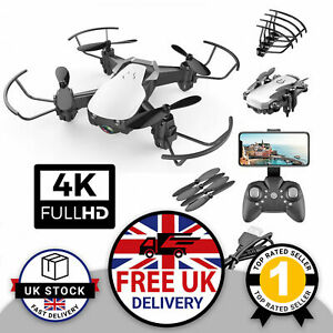 4K Mini Drone HD WIFI FPV Camera 2 Batteries Foldable Selfie Quadcopter Bag UK