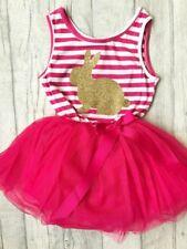 EASTER BUNNY TUTU DRESS, Gold Glitter Bunny Hot Pink Sleevless Dress