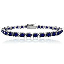Sterling Silver 10.35ct Created Blue Sapphire 6x4mm Oval Tennis Bracelet