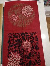 Red black cushion Floral Quilt Panel 100% cotton craft Andover Fabrics