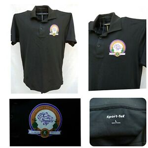 BREEDERS CUP HORSE RACE WORLD CHAMPIONSHIPS LOGO BLACK POLY POLO SHIRT MENS Lg