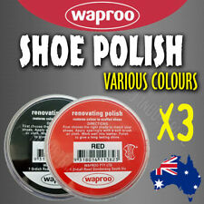WAPROO SHOE POLISH CREAM (3Pack) RESTORE COLOUR TO SCUFFED LEATHER SHOES BOOTS