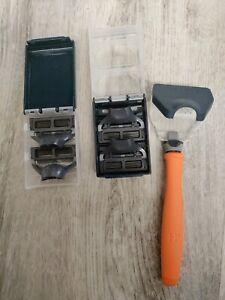 Harry's Razor 1Bright Orange Handle + 4 Razor Blade Refills & cover