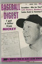 JUNE 1962 BASEBALL DIGEST MICKEY MANTLE cover