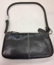 Ladies Leather Hand Bag in Dark Brown - genuine leather, adjustable strap