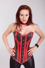 Black/Red Real Leather Real Steel Bones Lace up Back Full Bust Corset 2XS~7XL