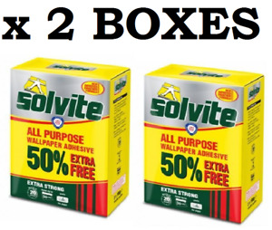 2 x Solvite All Purpose Wallpaper Paste Adhesive Glue 30 Rolls Extra Strong Box