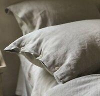 100% Linen Pillowcase with coconut buttons Luxury Linen Bedding Natural queen
