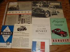 Original 1950 Renault Sales Brochure Sheet Manual Lot of 7 50