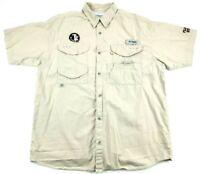 Columbia PFG Florida State FSU Vented Fishing Shirt Beige Khaki Men's Size L