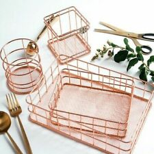 Makeup Box Rose Gold Iron Basket Eyeliner Brush Set Storage Cosmetic Organizer