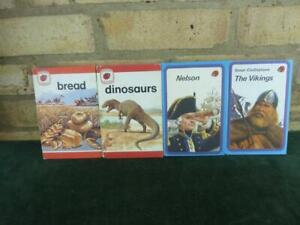 4 Vintage ladybird books  bread , dinosaurs , The Vikings , Nelson excellent con