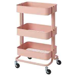 IKEA RÅSKOG Pink Kitchen Trolley Bathroom Bedroom Storage Organizer Art Craft