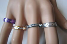 Lote 4 anillos aluminio colores nº 8 ó 17 mm diámetro medio bisutería r-20