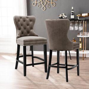 1/2x Vintage Velvet Bar Stools Wood Leg Breakfast Pub Chair Kitchen Dining Chair
