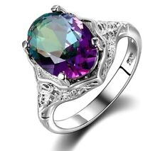 Ring 925 Sterling Silver Genuine Rainbow Fire Mystic Topaz Solid Women Jewelry